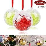 Shinyee Palline di Natale Sfera Plastica Trasparenti Palla Palle da Natalizie Albero Apribili Decorative-10cm-12pz