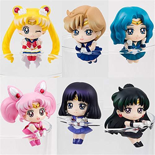 zdfgv 6 Stück Anime Sailor Moon Teetasse Dekorationen Actionfiguren Kinderspielzeug Tsukino Usagi Chibi Usa Seemann Uranus Pluto Neptun 5cm