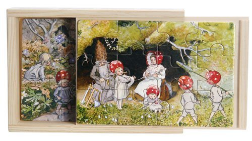 Hjelms Elsa Beskow Tomtebobarnen Children of The Forest Jigsaw Puzzle Set in Wooden Box (4 Puzzles - 12 Pieces Each)