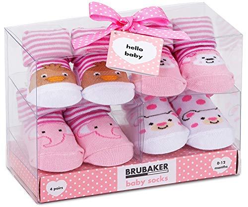 BRUBAKER - Chaussettes bébé - Lot de 4 Paires - Fille 0-12 Mois - Coffret cadeau Naissance/Baptême - Animaux - Rose