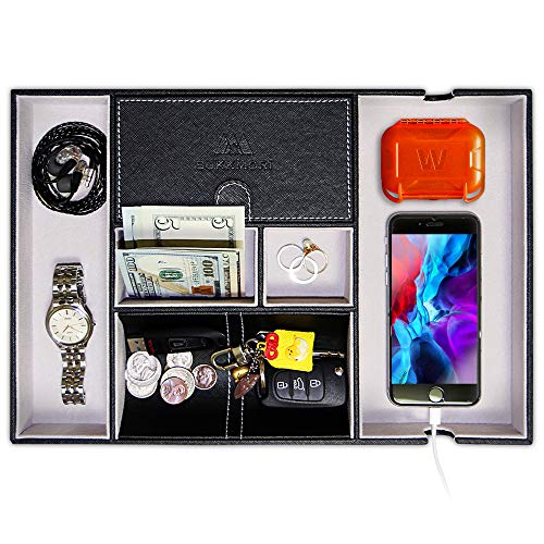 SUKKMORI Valet Tray Nightstand Organizer - Dresser Organizer for Men and Women - EDC Leather Key Tray - Desk Organizer for Jewelry with Charging Station - Bedside Catchall Tray for Accessaries