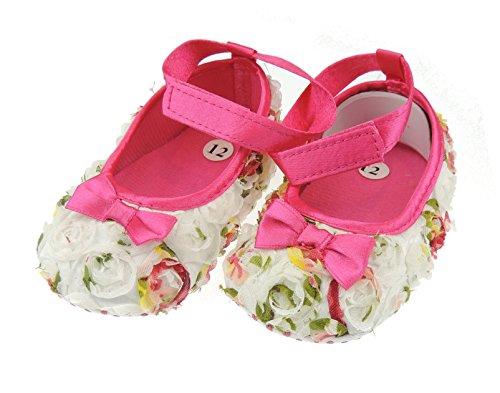 Glamour Girlz Sandales d'été pour bébé fille à semelle souple Motif boutons de rose - Multicolore - Multicolore, 6-9 mois
