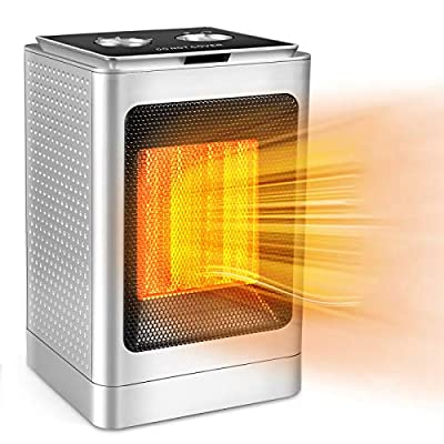 Portable Electric Space Heater, 1500W/750W Ceramic Heater with Fast Heat in 3s with Overheat Protection &Tip-Over Protection?Safe & Quiet for Home/Office/Bedroom and Bathroom.