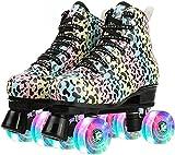 patines de ruedas, patines de ruedas con luz LED, 4 ruedas, patines de ruedas para mujeres patines de ruedas brillantes de dos hileras de cuatro ruedas con forma lechosa para principiantes B,37