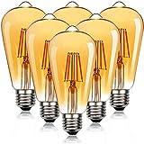YANUODA 6-Pack Vintage Antique Style ST21(ST64) LED Light Bulbs 2500K Amber Glass Warm White E26 Screw Base (6Watts)