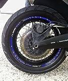 STRISCE ADESIVE blu per CERCHI MOTO 17-19 POLLICI compatibile con YAMAHA SUPER TENERE