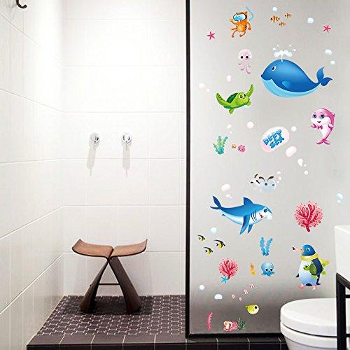 Cartoon Stickers Zee Dieren Badkamer Glas Decoraties Verwijderbare Viskast Raam Stickers Slaapkamer Muurstickers