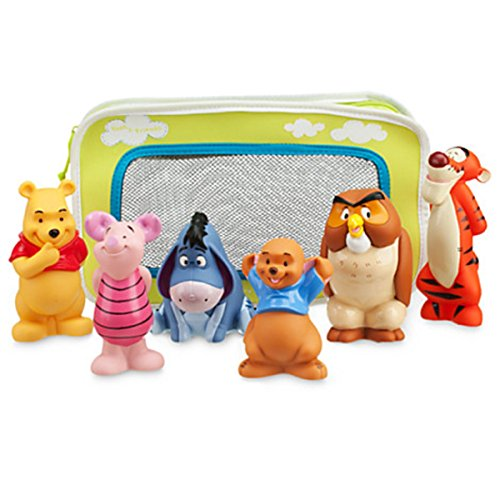 Winnie the Pooh and Pals Bath Toy Set in Zipped Bag - Winnie the Pooh, Tigger, Eeyore, Piglet, Owl, and Roo
