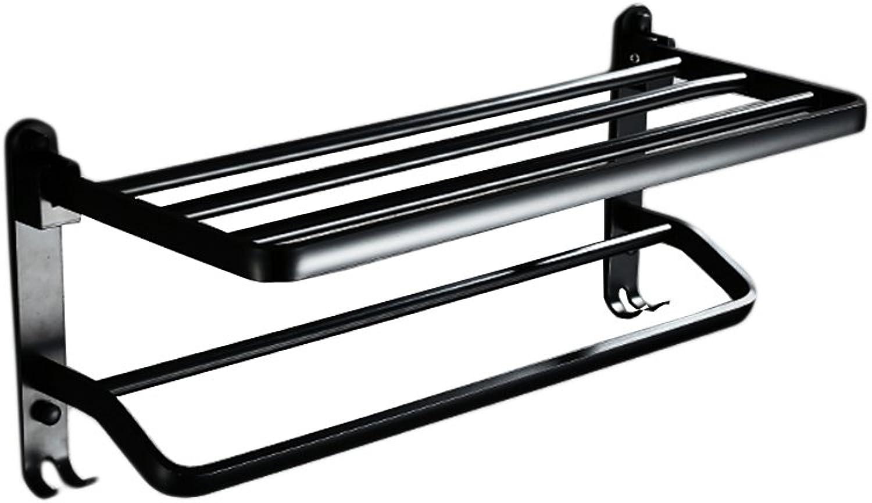 garantizado ZDNALS ZDNALS ZDNALS Toallero, punzonado Gratis Retro Fold Material de Aluminio Toallero Negro 40cm, 50cm, 60cm Toallero (Tamao   40cm)  100% precio garantizado