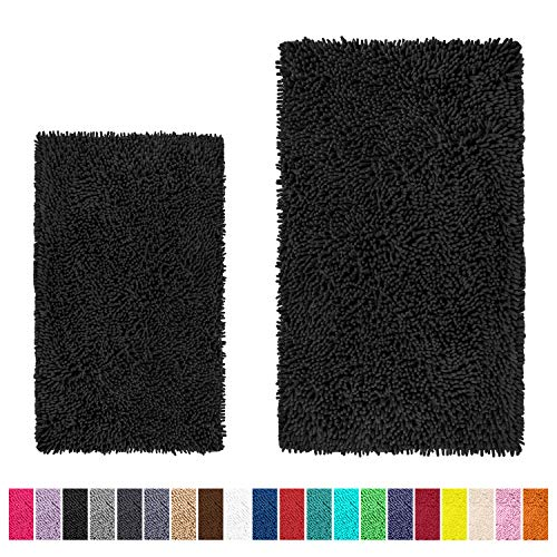 LuxUrux Bathroom Rug Set–Extra-Soft Plush Bath mat Shower Bathroom Rugs,1'' Chenille Microfiber Material, Super Absorbent.(Rectangular Set, Black)