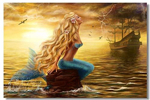 yaoxingfu Puzzle 1000 Piezas Arte Sexy Sirena niña Sirenita Pintura Puzzle 1000 Piezas paisajes Gran Ocio vacacional, Juegos interactivos familiares50x75cm(20x30inch)