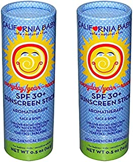 California Baby SPF 30 Sunscreen Stick for Everyday/Year Round Broad Spectrum Sunblock for Kids | Babies and Adults | Water Resistant Mineral Based Protection, 2 Pack | (.5 Ounces)