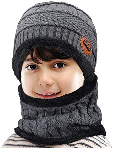 Maylisacc 2 Pcs Winter Beanie Hats and Scarf Set Neck Gaiter for Kids Boys and Girl Grey