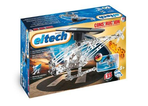 Eitech 00071 00071-Metallbaukasten Helikopter Set mit solarbetriebenem Motor, 135-teilig, Multi Color