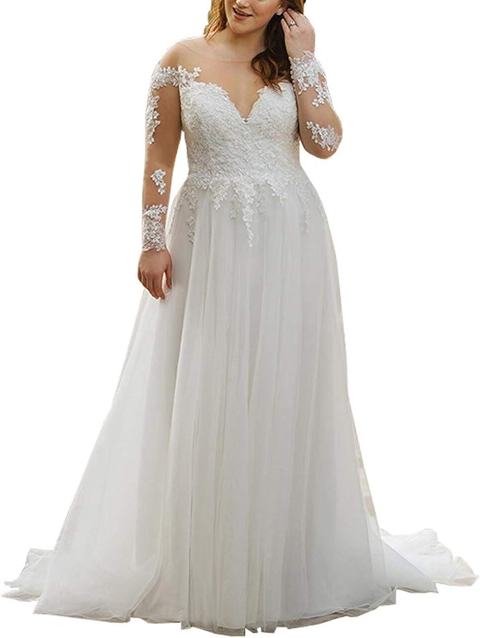 Mulanbridal Beach Wedding Dresses Plus Size Lace Chiffon Bridal ...