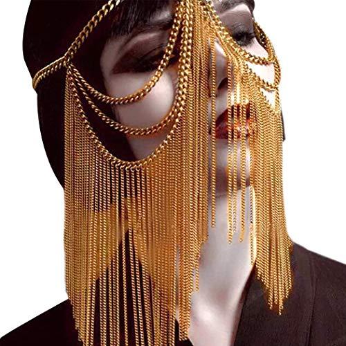 HJG Máscara de Disfraces de Cadena de Cabeza de Metal para Mujeres, Cadenas de Oro para Danza del Vientre para Mujeres, máscara de Velo Sexy para Discoteca,Gold