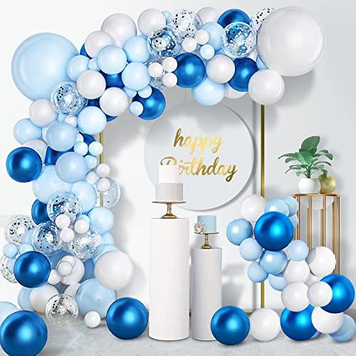 Unisun Kit de guirnalda de globos, 104 piezas, azul blanco, con confeti plateado, globos metálicos, cadena de pegamento, lunares para decoración de cumpleaños, bodas, aniversarios y fiestas