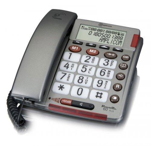 Amplicom PowerTel 60 Plus schnurgeb&enes Großtastentelefon Empfangslautstärke im Hörer bis 60 dB Premium Hörgerätekompatibilität