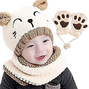 Gifort Warm Kids Knitted Hat Gorra Unisex Bufanda Set 3 Piezas con Blanco
