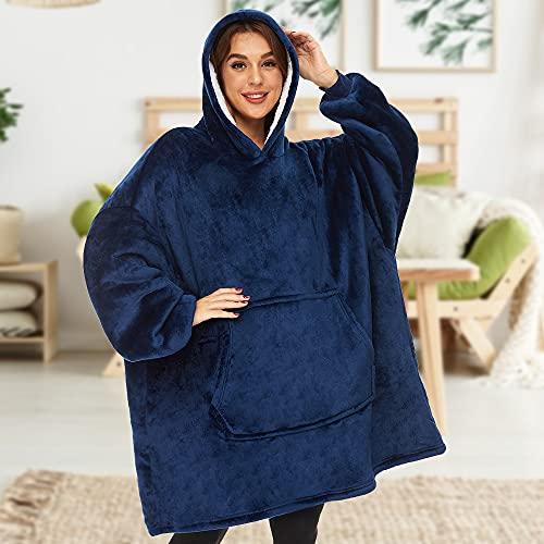 Lushforest Sudadera con Capucha de Gran tamaño, Manta para Mujeres, niñas, Bata de Manga Larga de vellón Sherpa súper Suave