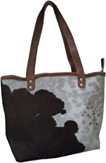 Nayra Women's Leather Handbag Brown & White Pack of Two