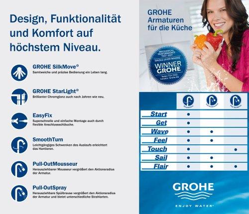 Grohe – Feel Spültischbatterie, hoher Auslauf, herausziehbarer Mousseur, Chrom - 7