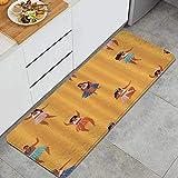 ZORMIEY Alfombras Cocina Lavable Antideslizante Alfombrilla de Goma Alfombra de Baño Alfombrillas Cocina 45x120cm,Niñas Tocando el Ukelele y Bailando Hula Hawaii Dance Vacaciones de Verano