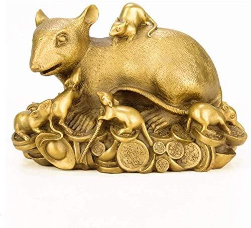 Estatua Feng Shui Decor Zodíaco rata/ratón, estatuas de latón puro, decoración de Feng Shui chino para el hogar y la oficina, riqueza y buena suerte, decoración (tamaño: L)