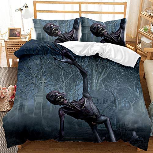 QXbecky Skulls Halloween Grim Reaper Bedding Soft Microfiber Quilt Cover Pillowcase 2, 3 Piece Set of Twin beds