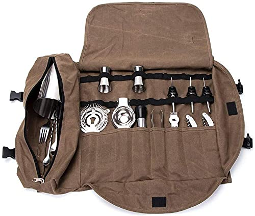 YAYY Super Bartender Kit Roll Bag Portable Large Cocktail Set Roll Home and Workplace Cocktail Making Tool Bag for Travel (no incluye herramientas) - Café Upgrade