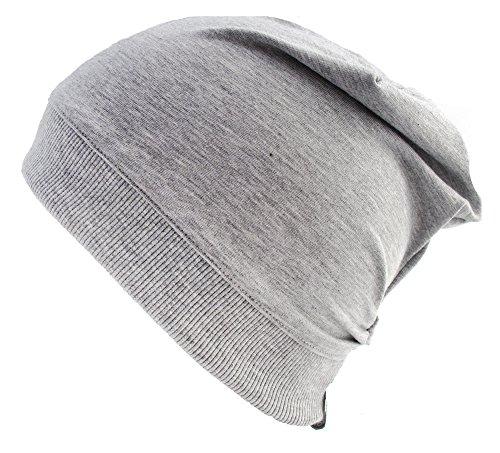 Wollhuhn ÖKO Leichte Beanie-Mütze einfarbig grau (aus Öko-Stoffen) (aus Öko-Stoffen), 20140918, Größe: L