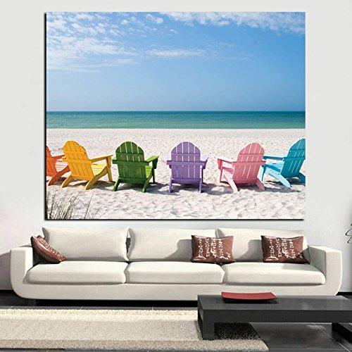 sanzangtang Rahmenlose Malerei Kristall Meer und Himmelblau Seestück Leinwand Malerei Strandkorb Pop ArtCGQ5690 30X45cm
