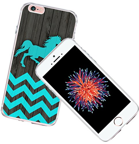 Case for iPhone 6S Horse Protective Blue - CCLOT Flexible Cover Protector Compatible for iPhone 6/6S Colorful Chevron Horse Blue Design Animal (TPU Protective Silicone Bumper Skin)