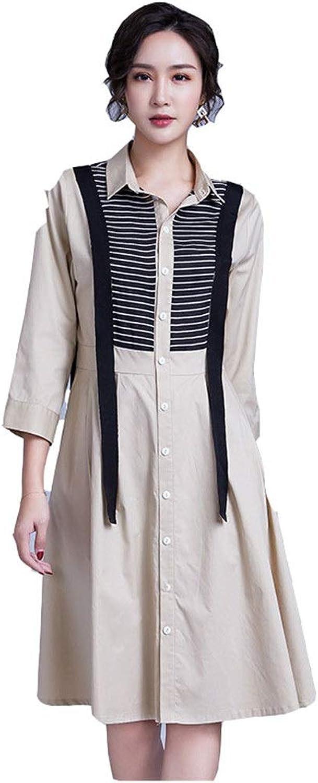 Elegant Women's Dress Women Shirt Dress 3 4 Sleeve color Block Striped Button Down Casual Midi Dress Classic Work Office Dresses Women's Dress Bodikon Dress (color   Khaki, Size   XL)