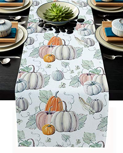 Pumpkin Table Runner, 13 x 90 inch Watercolor Pumpkins Happy Thanksgiving Halloween Recipe Fall Table Runners Linen Cotton Burlap Kitchen Table Runner for Family Dinner Parties, Christmas & Gathering