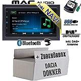 Autoradio Radio Mac Audio Mac 520 DAB - 2-DIN Navigation USB Bluetooth DAB+ Navi Einbauzubehör - Einbauset für Dacia Dokker 2DIN - JUST SOUND best choice for caraudio