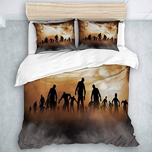 Juego de Funda de edredón, Zombies Dead Men Walking Body in The Doom Mist en el Tema de Night Sky Haunted, Calidad de Hotel para Hombres, niños, edredón, Juego de 3 Piezas