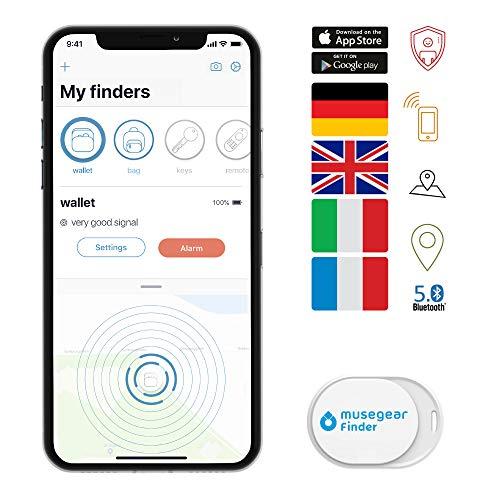 Musegear Keyfinder mini met Bluetooth App I Keyfinder luid voor mobiele telefoon in wit I GPS tracking/pairing I Find toetsen