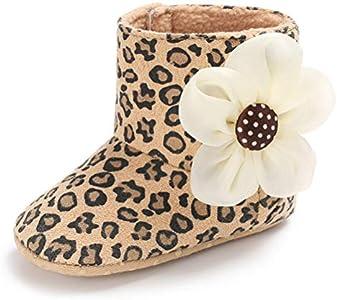 Botas de Lana para Bebé Invierno Suela Blanda Caliente Flor Patucos de Niñas Algodón (0-6 Meses, Leopardo, Tamaño de Etiqueta 11)
