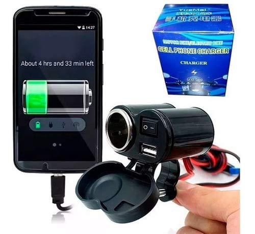CARREGADOR USB PARA MOTO TOMADA ADAPTADOR 12V ACENDEDOR CIGARRO PARA CELULAR E GPS COM LIGA DESLIGA E SUPORTE DE FIXAÇÃO