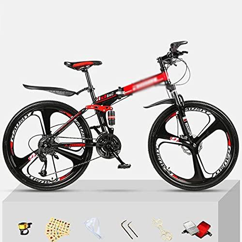 Bicicleta de montaña con Marco de Acero para niños, niñas, Hombres y Mujeres 21/24/27 Speed Gear Ruedas de 26 Pulgadas para un Camino, senderos y montañas (tamaño: 27 velocidades, Color: Blanco)