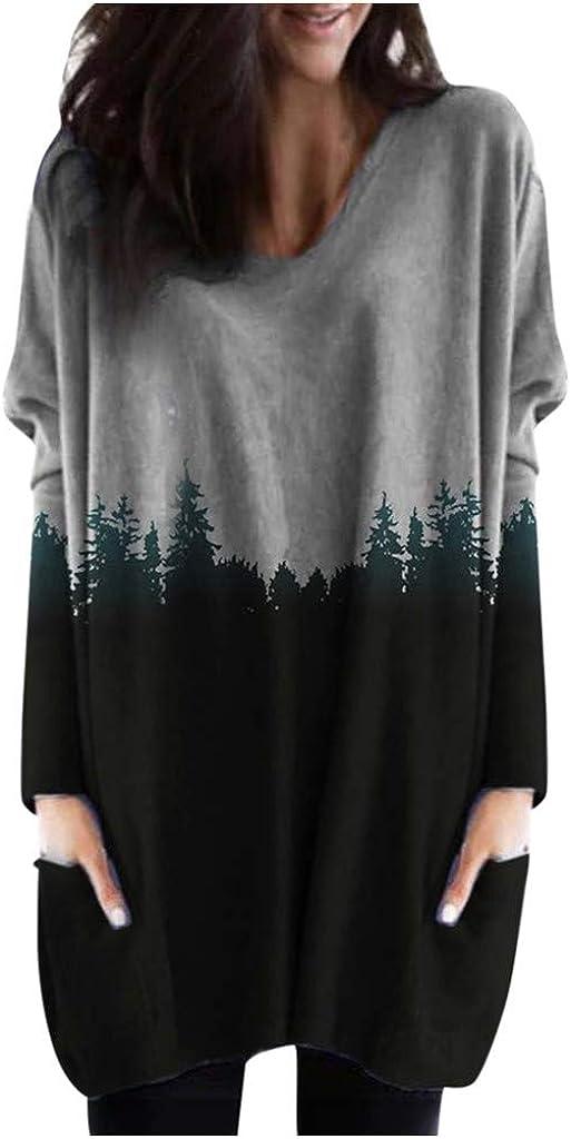 Womens Casual Sweatshirt Plus Size Tunics Mountain Printed Pullover Long Sleeve O-Neck Shirts Tops