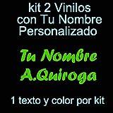 Vinilin - Pegatina Vinilo Tu Nombre o Texto Personalizado - Bici, Casco, Pala De Padel, Monopatin, Coche, Moto, etc. Kit de Dos Vinilos (Verde)
