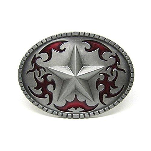 LKMY Hebilla de cinturón con hebilla de cinturón Lucky Star Pentagram, hebilla de cinturón Western Cowboy Scroll para hombres mujeres