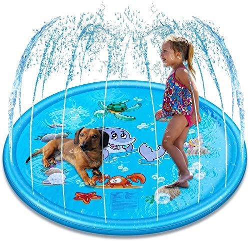 XINGDONG Espolvorear y salpicar juego Mat inflable Juguetes de agua para piscina al aire libre Juguetes para niños de más de 7 años y mascotas (170 cm, azul) duradero