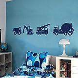 Rhpnyi Calcomanía de Pared de camión, calcomanía de Vinilo, bebé, guardería, camión de Cemento, Excavadora, grúa, Mural para niños, 101X57CM