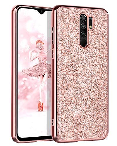 BENTOBEN Funda Compatible Xiaomi Redmi 9, Carcasa Redmi 9 Purpurina Cover Case Ultra Delgada Brillante Resistente Silicona PC Protectora AntiGolpes Slim Fundas para Xiaomi Redmi 9 6.53'' Oro Rosa