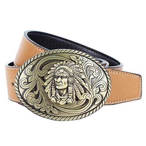 IPOTCH Cinturón de Cuero con Hebilla Oval Aleación de Zinc de Vaquero Occidental para Pantalones Casuales Negocio de Hombres - marrón, tal como se describe