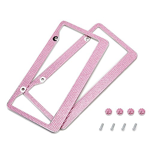Orion Motor Tech 2 Pink Bling Crystal Rhinestone License Plate Frames and Screw Caps