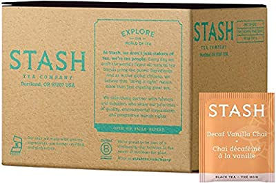 Stash Tea Decaf Vanilla Chai Black Tea 100 Count Box of Tea Bags in Foil (packaging may vary) Individual Decaffeinated Black Tea Bags for Use in Teapots Mugs or Cups, Brew Hot Tea or Iced Tea